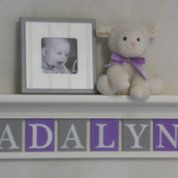 "Nursery Name Letters, Baby Girl Nursery Name Decor Personalized 30"" Lilac Shelf with 8 Purple and Gray Name Blocks - ADALYN with Butterflies"