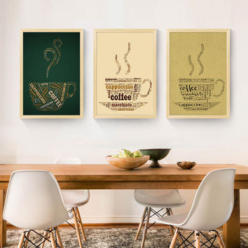 Canvas Print Painting Artwork, Cafe styles Coffee Beans Panels/Set Wall Art Picture/Photo Gift for Coffee Shop