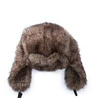 Faux Fur Trapper Hat Brown One