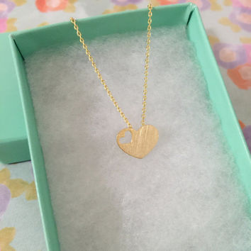 SALE-Valentine's Day Gold Heart Necklace
