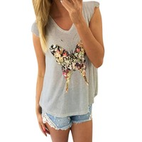 Fluttered - Butterfly V Neck Tank Top