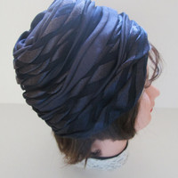 Vintage Navy Blue Layered Ribbon Turban Hat Cloche