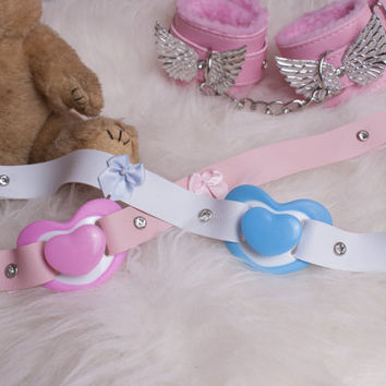 Little kitten soother gag // pacifier available in Blue & Pink  // Diamante finish // Pastel dummy