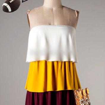 Gameday Dress - White/Crimson/Gold