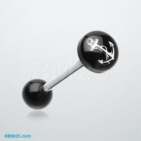 Classic Anchor Logo Acrylic Barbell Tongue Ring