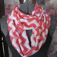 Coral Chevron Scarf - Coral on White Jersey Knit Circle Scarf - ChevronScarf