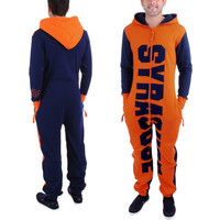 Syracuse Orange Zooop Full Zip Fleece Jumpsuit - Navy Blue