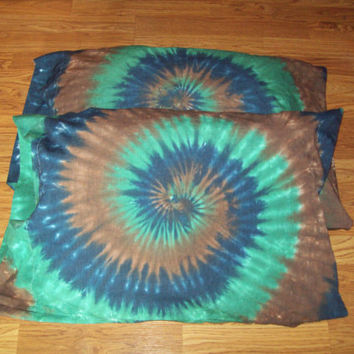 Tie Dye Pillow Cases- Set of 2-  tie dye pillows, tie dye bedding, Forest