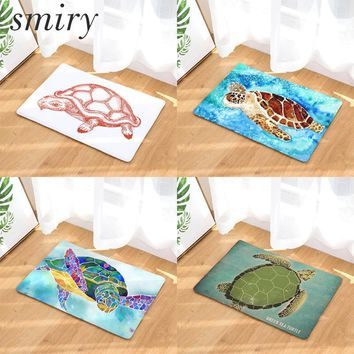 Smiry anti-skid colorfast in front of door mats cute sea animals pattern blue tortoise rugs large water absorption kitchen mats