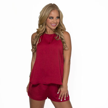 So Deserved Romper In Burgundy