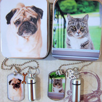 Pet Memory Dog Tag and Cremation Urn Loss of Pet Necklace with Photo Gift Tin for Pet's Ashes for Pet Lovers Dog Cat Moms and Dads