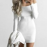 Casual Fashion Off Shoulder Sweater Bodycon Mini Dress