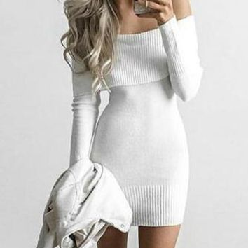 Streetstyle  Casual Fashion Off Shoulder Sweater Bodycon Mini Dress