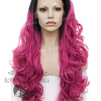 """26"""" Heat Safe Synthetic Lace Front """"Constance"""" with Curly Texture in Rooted Magenta"""