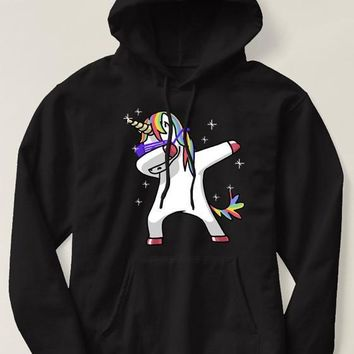 Black Dabbing Unicorn Print Pockets Hooded Long Sleeve Cute Sweatshirt