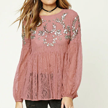 Sequined Sheer Lace Top