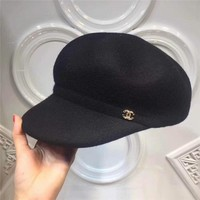 """Chanel"" Simple Casual Fashion Classic Logo Letter Flat Cap Pumpkin Cap Women Hat"