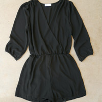 Coronado Romper in Black [5773] - $36.00 : Vintage Inspired Clothing & Affordable Dresses, deloom | Modern. Vintage. Crafted.