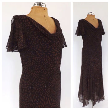 Vintage 90s does 1920s Lawn Dress Rayon Summer Sundress Romantic Gown Black Brown Bias Cut 30s Maxi Dress Beaded Flapper Art Deco Size 12