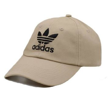 Beige Adidas Print Cotton Adjustable Cotton Baseball Golf Cap