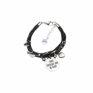 Genuine Leather Bracelet Made With Crystals From Swarovski - Have Courage