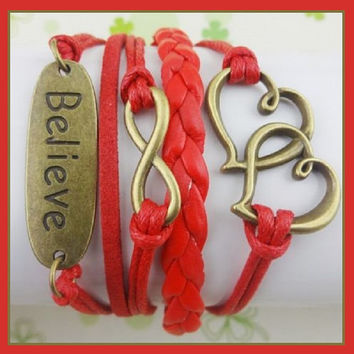 Red with Infinity symbol, Double Hearts and Believe Bronze Charms Multi Layered Friendship Bracelet Women's Wrap ~ US Seller ~ FAST Shipping
