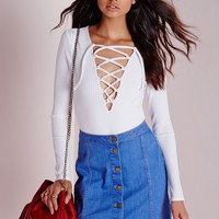 Missguided - Lace Up Front Bodysuit White