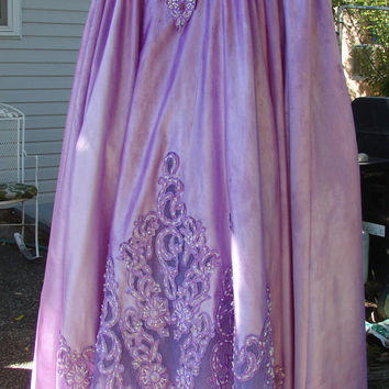 Trashed Wedding Dress Dyed Purple Steampunk Brides Dress Goth Costume Altered Upcycled Junk Gypsy Free People Size Large - X Large