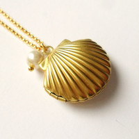 Golden Mermaid Locket with Little Pearl, Sea Shell Necklace, Beach Locket, Gold Tone Raw Brass, Shell Locket, Nautical Jewelry, Gift Wrap