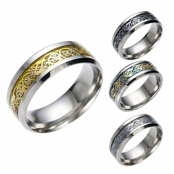 Dragon Rune Totem 316L Stainless Steel Mens Rings The Ring for Man of Lord Boyfriend Gift Jewelry Vintage soldier Male Lovers