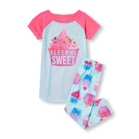 Girls Short Sleeve 'Sleep Is Sweet' Cupcake Graphic Top And Cupcake Print Pants PJ Set | The Children's Place