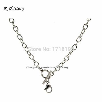 """Silver Stainless Steel 18"""" O Shape Chunky Toggle Chain For Floating Locket LFH_019"""