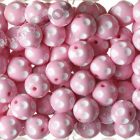 PASTEL PINK 20mm Polka Dot Gumball Beads