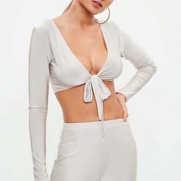 Missguided - Silver Tie Front Slinky Crop Top