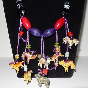 Necklace African Miniature Carved Wood wild Animals Hand Painted Art Glass Bead