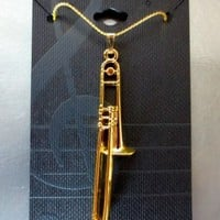 TROMBONE Necklace - 24K Gold Bach T-Bone NWT - Music Gifts Jewelry