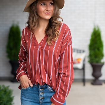 Just Take A Look Striped V-Neck Blouse : Rust/White