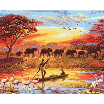 Elephant Sunset Landscape Canvas Wall Art - DIY Painting By Numbers Kit