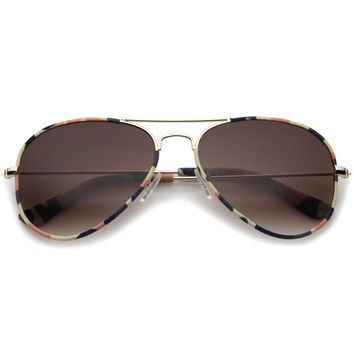 Camouflage Print Fabric Teardrop Shape Lens Aviator Sunglasses 60mm