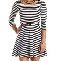 Gold-Belted Striped Skater Dress by Charlotte Russe - Black/White
