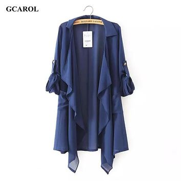 Women Asymmetric Length Sun Protection Chiffon Coat Casual Long Thin Open Stitch Jacket Summer Spring Ladies'Sweetwear Outwear