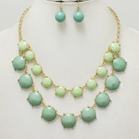 Two-Tone Green Statement Necklace & Earring Set