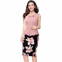 Office Dress Elegant Women Dress Print Floral Patchwork Sleeveless Tunic Casual Pencil Dresses