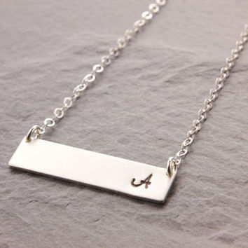 Initial Bar Necklace Silver Gold Mo