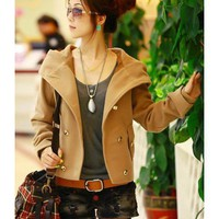 Women Wool Blend Brown Short Jacket With Cap Free Size @HX850b
