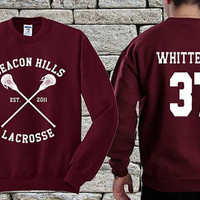 BEACON HILLS Lacrosse Team White Maroon sweater sweatshirt teen wolf. Personalized back Jackson Whittemore 37