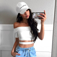 Short Sleeve Summer Sexy Strapless Crop Top Women's Fashion T-shirts [10972801487]