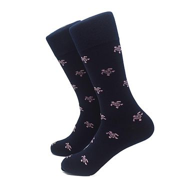 Turtle Socks - Men's Mid Calf - Pink on Navy