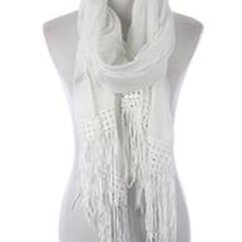 Beautiful LACE  WHITE LACE TRIM FRINGE  SCARF  Long 76X26