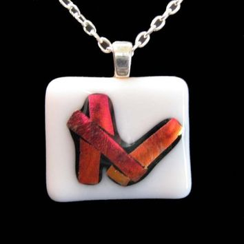 Dichroic Pendant, Fused Glass Necklace, White, Red - Life's Building Blocks  by mysassyglass